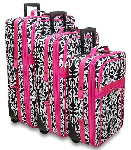Pink Trim Damask Floral 3 Piece Luggage Set, Bags Central