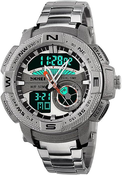 SKMEI Estilo Deportivo De Acero Inoxidable LED De Doble Pantalla Reloj De Gran Face Dial Hombre Reloj Digital 50 M Resistente Al Agua