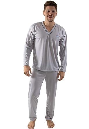 6764a7c69 Pijama Longo Masculino Blusa Manga Comprida e Calça Cinza  Amazon ...