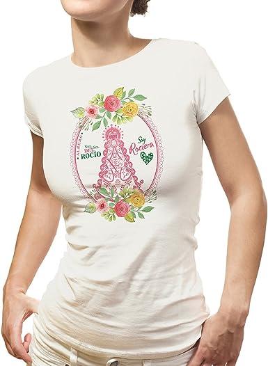 Camiseta Virgen del Rocio ALMONTE ESPAÑA Soy ROCIERA Blanca (S ...