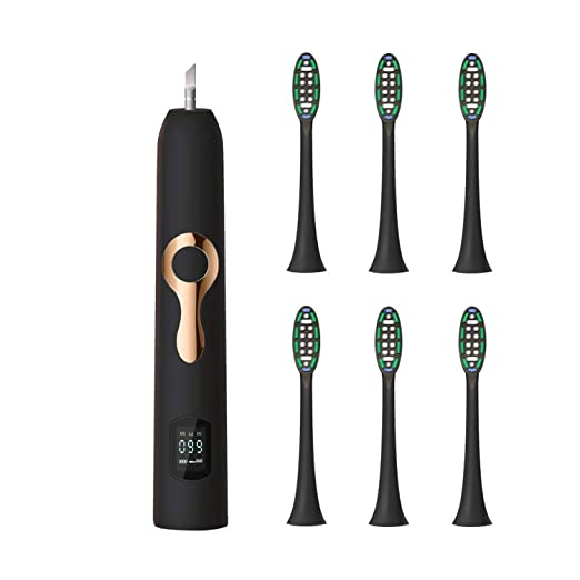 Amazon.com: Intelligent LCD Sonic Electric Toothbrush Maglev Induction Third Gear Adjustment Intelligent Whitening Toothbrush,608 Black 4heads: Beauty