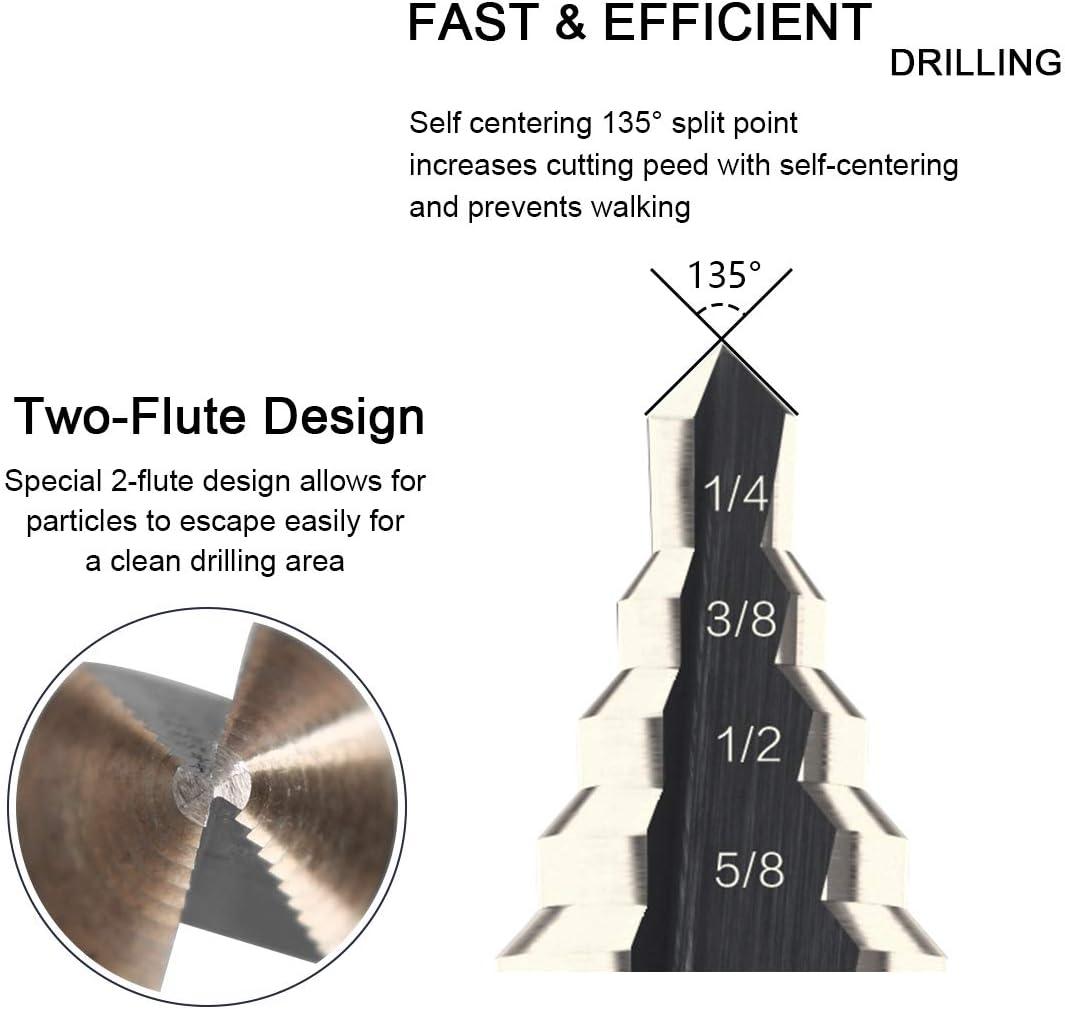 5pcs HSS High Speed Steel Cobalt Titanium Step Drill Bit Multiple Hole 50 Sizes
