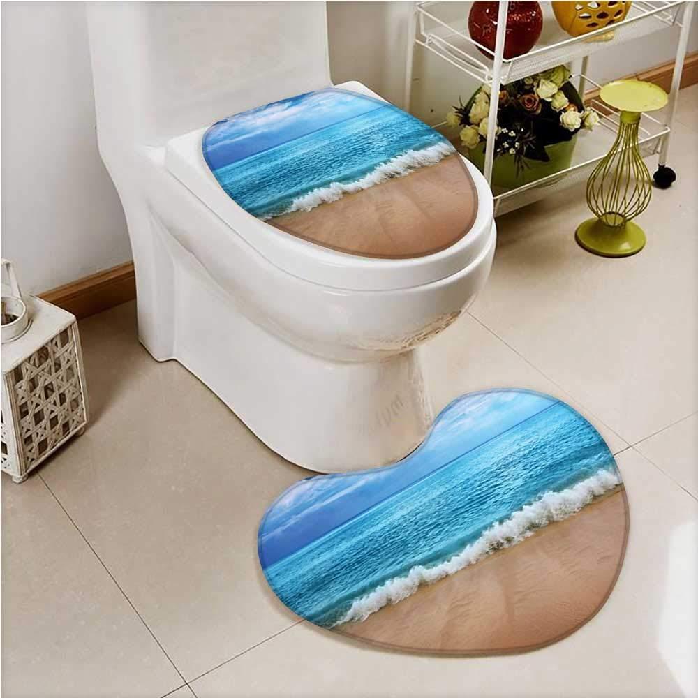 aolankaili 2 Piece Bathroom Mat Set India Andamans and Sea Soft Sand graphy Blue Aqua Absorbent Cover