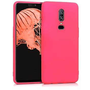 kwmobile Funda para OnePlus 6 - Carcasa para móvil en [TPU Silicona] - Protector [Trasero] en [Rosa neón]