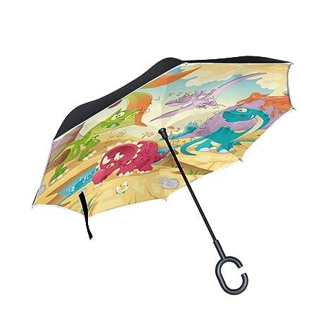 COOSUN Dinosaurio de la capa doble del paraguas invertido inversa para el coche y el uso