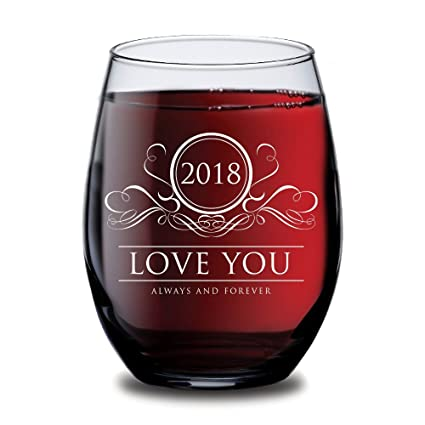 amazon com 2018 love you always and forever wine glass wedding