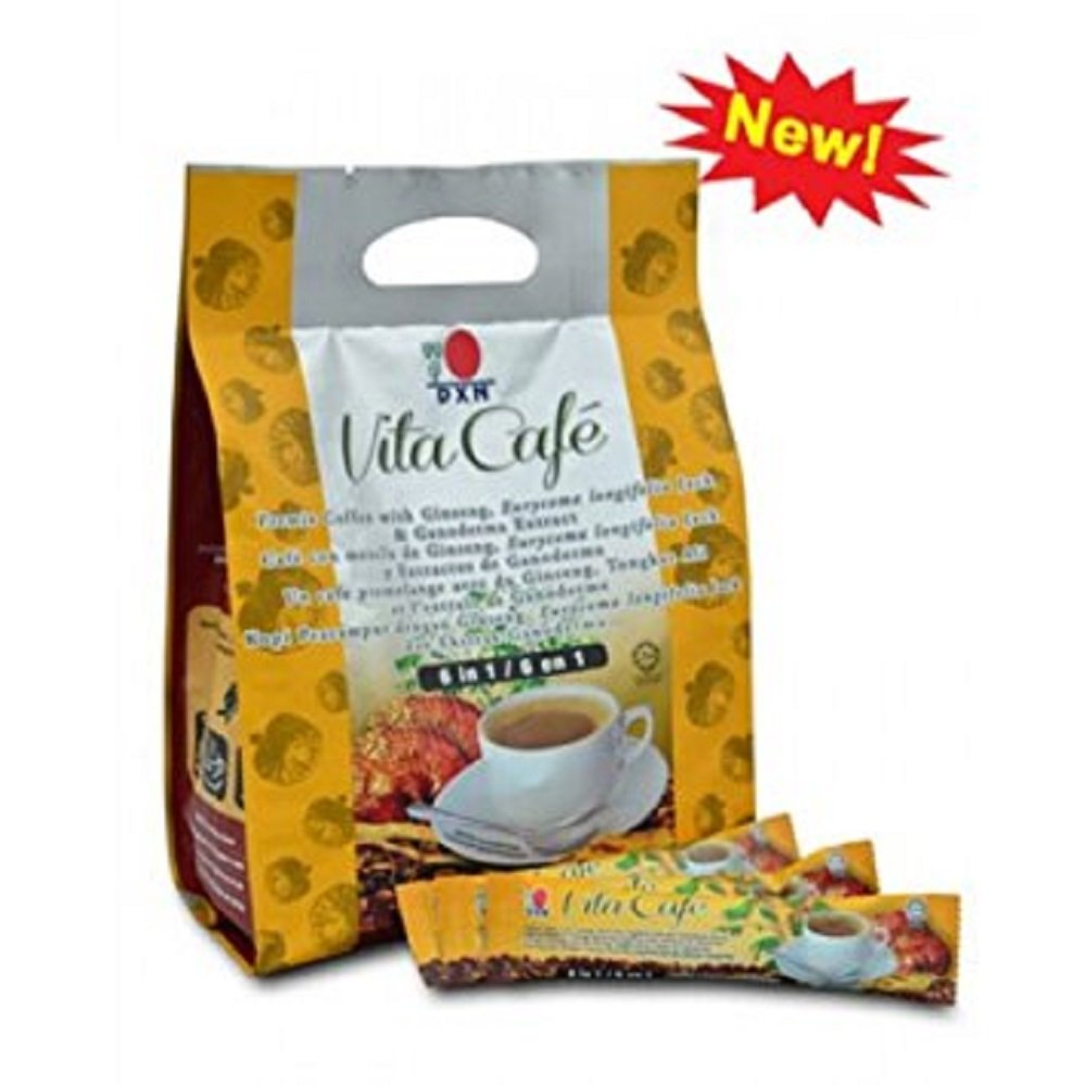 10 Packs DXN Vita Cafe 6 in 1 Healthy Ganoderma Coffee with Ginseng and Tongkat Ali Eurycoma Longifolia Jack ( Total 200 Sachets x 21g ) by DXN