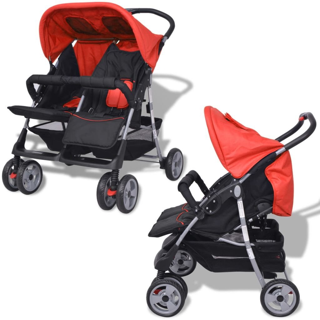 mewmewcat Klappbar Zwillingswagen Baby Zwillingskinderwagen Kinderwagen 93 x 68 x 103 cm Geeignet f/ür 1-2 Kinder bis zu jeweils 15kg