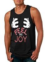 Allntrends Men's Tank Top Feel The Joy Cute Xmas Shirt Trendy Holiday Gift