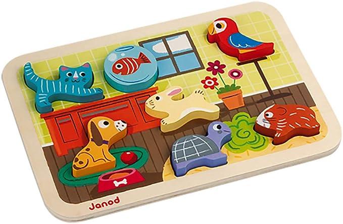 Janod - Chunky Puzzle de madera, Animo (J07024): Amazon.es: Juguetes y juegos