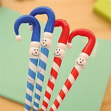 Cute Kawaii Cartoon Navidad Muñeco de nieve paraguas forma pequeños regalos Papelería para Niños bolígrafo punto