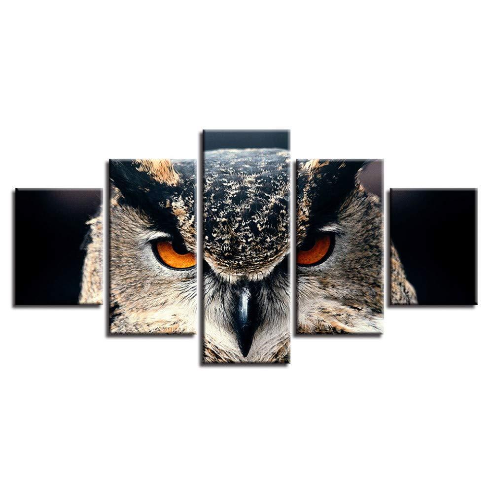 DYDONGWL Moderno Hogar Sala de Estar Arte 5 de la Pared Decoración 5 Arte Piezas Animales Búho Pinturas Lienzo Modular Posters Impresión Marco HD Fotos 102ced