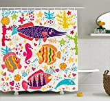 Fish Shower Curtains Bath Accessory Sets Ambesonne Sea Animals Shower Curtain, Cartoon Art with Fish Seahorse Starfish Dolphin Coral Underwater Life Kids, Fabric Bathroom Decor Set with Hooks, 70 Inches, Multicolor