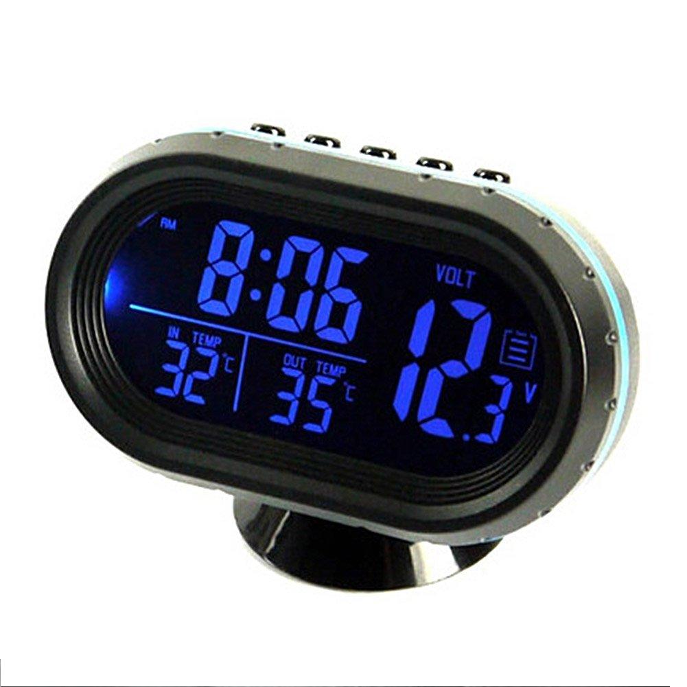 YOEDAF 2 in 1 12V Car Digital Thermometer Voltmeter Clock Alarm Monitor with Multifunctional Vehicle Temperature Gauge Alarm Auto Meter Clock with Battery Meter Detector LED Display
