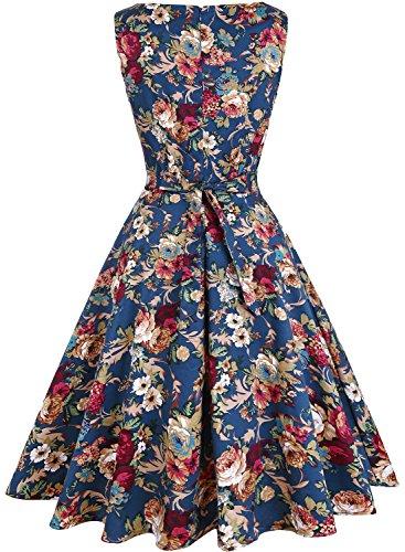 1950s Swing Vestido Rockabilly Cóctel De Mujer Vintage Hepburn Pin Vestido Azul Up rrOxTFqnH