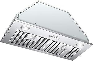 Range Hood Insert 30-inch,MCBON Vent Hood Insert,Stove Hood Insert,Built-in Kitchen Hood,600 CFM,Stainless Steel (30 inch)