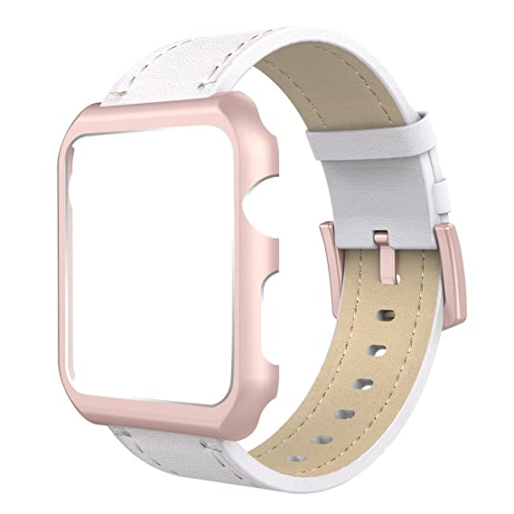 new products 4ed6d ad0cb Simpeak Compatible for Apple Watch Band with Case 42mm, Genuine Leather  iWatch Band Strap with Rose Gold Apple Watch Case for 42mm Apple Watch  Series ...