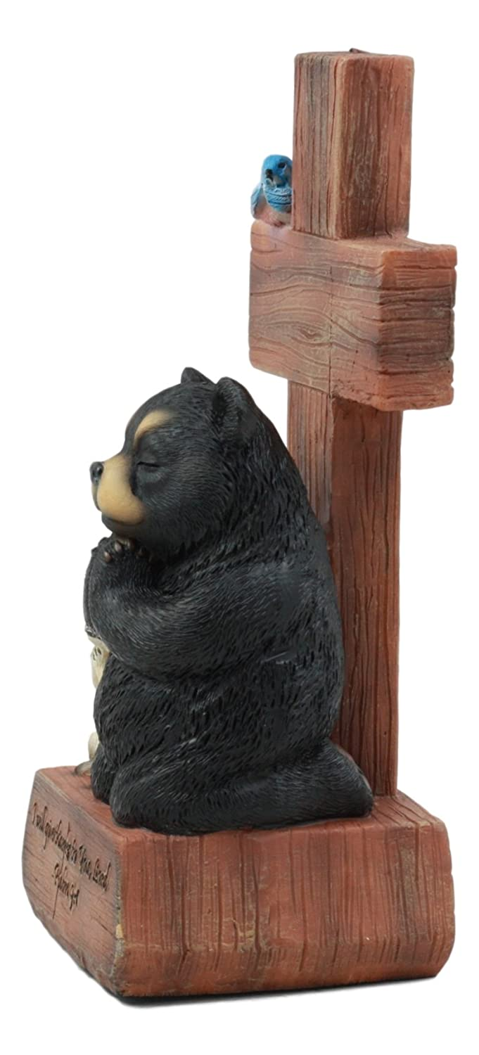 Ebros Give Thanks Black Bear Squirrel and Bluebird Kneeling by The Cross Figurine 7 Tall Forest Animals Prayer Group