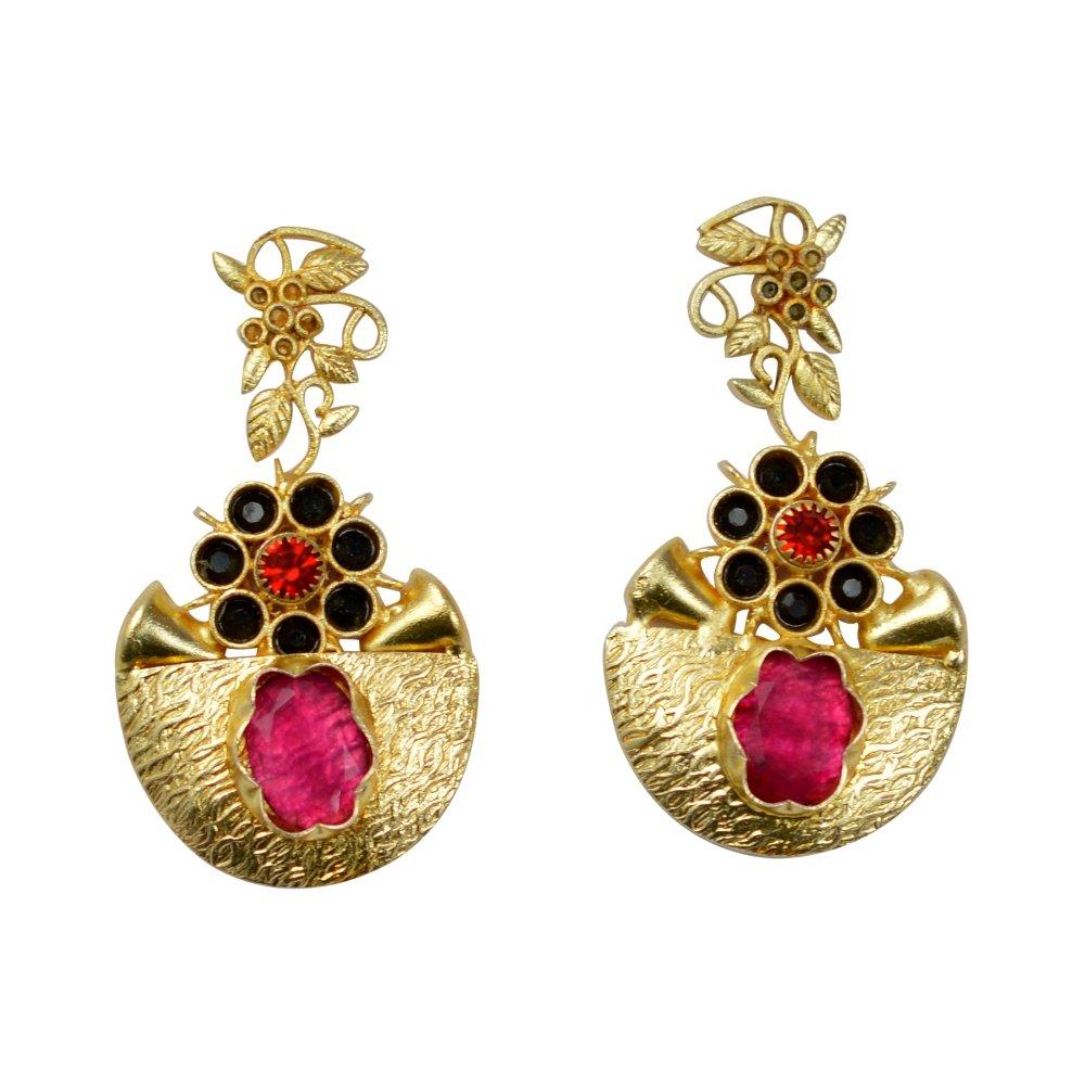 eurasia Handmade Ruby Black Onyx Red Zircon Gemstone Yellow Gold Plated Earrings