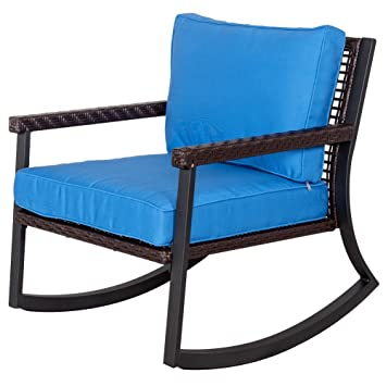 Sundale Outdoor All Weather Wicker Rocking Chair With Cushion Patio Porch  Deck Furniture Luxury Chair,