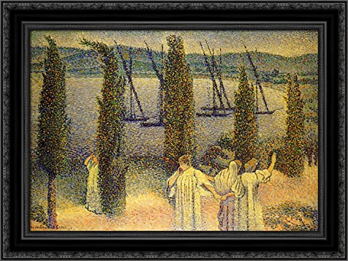 Coastal View with Cypress Trees 24x18 Black Ornate Wood Framed Canvas Art by Henri-Edmond Cross