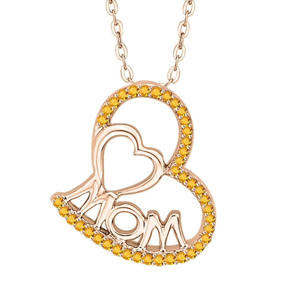 KATARINA Gemstone Dual Interlinked HeartMOM Pendant Necklace in 14K Gold 1//6 cttw