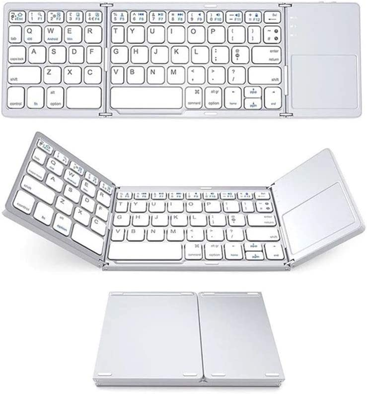 Ultra-Thin Portable Keyboard Keyboard Folding Wireless Bluetooth Office Support Three Systems Internet Cafe Color : White Notebook Household