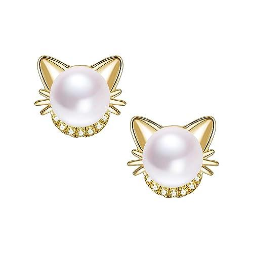 7662a31b23c2e Girls Cat Stud Earrings Freshwater Pearl Stud Earrings 18K Gold Plated 925  Sterling Silver Ear Studs for Cat Lovers