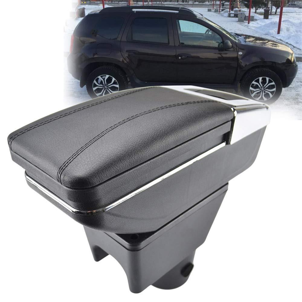 LUOERPI Bo/îte de Rangement en Cuir Noir pour accoudoir Rotatif avec accoudoir de Voiture pour Renault//pour Dacia Duster I 2010-2015 2013 2014