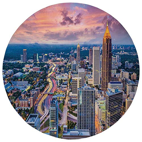 Round Rug Mat Carpet,Modern,Atlanta City Skyline at Sunset with Hazy Light Georgia Town American View,Baby Pink Blue Silver,Flannel Microfiber Non-Slip Soft Absorbent,for Kitchen Floor Bathroom