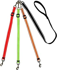 MoSANY 3 Way Dog Leash Reflective Adjustable Coupler No Tangle Detachable 3 in 1 Multiple Dog Leash with Soft Padded Handle for 1 2 3 Dog Pet Cat Puppy Walking Training (Multi-Color)