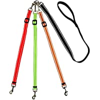 MoSANY 3 Way Dog Leash Reflective Adjustable Coupler No Tangle Detachable 3 in 1 Multiple Dog Leash with Soft Padded…