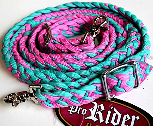 Reins Tack (ProRider Roping Knotted Horse Tack Western Barrel Reins Nylon Braided Turquoise PK 607467)