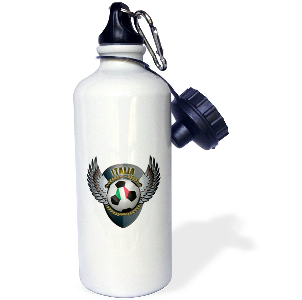 3dRose wb_158039_1 ''Italia soccer ball with crest team football Italy Italian'' Sports Water Bottle, 21 oz, White
