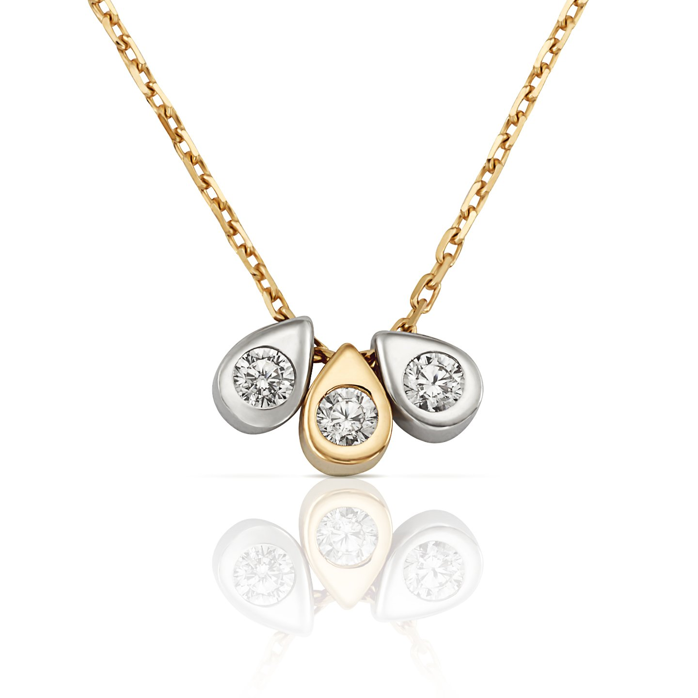 Jewel Connection 3-Stone Teardrop Charm Slide Necklace in Two Tone 14k Yellow and White Gold