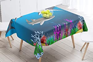 """GANKE Sea-Coral Waterproof Vinyl Tablecloth White Shark and Tiger Swim Coral Reef Animal Aquatic Art Rectangle Stain-Proof Oil-Proof Heavy Duty Table Cloth 60"""" X 84""""Tablecloth White Coral"""