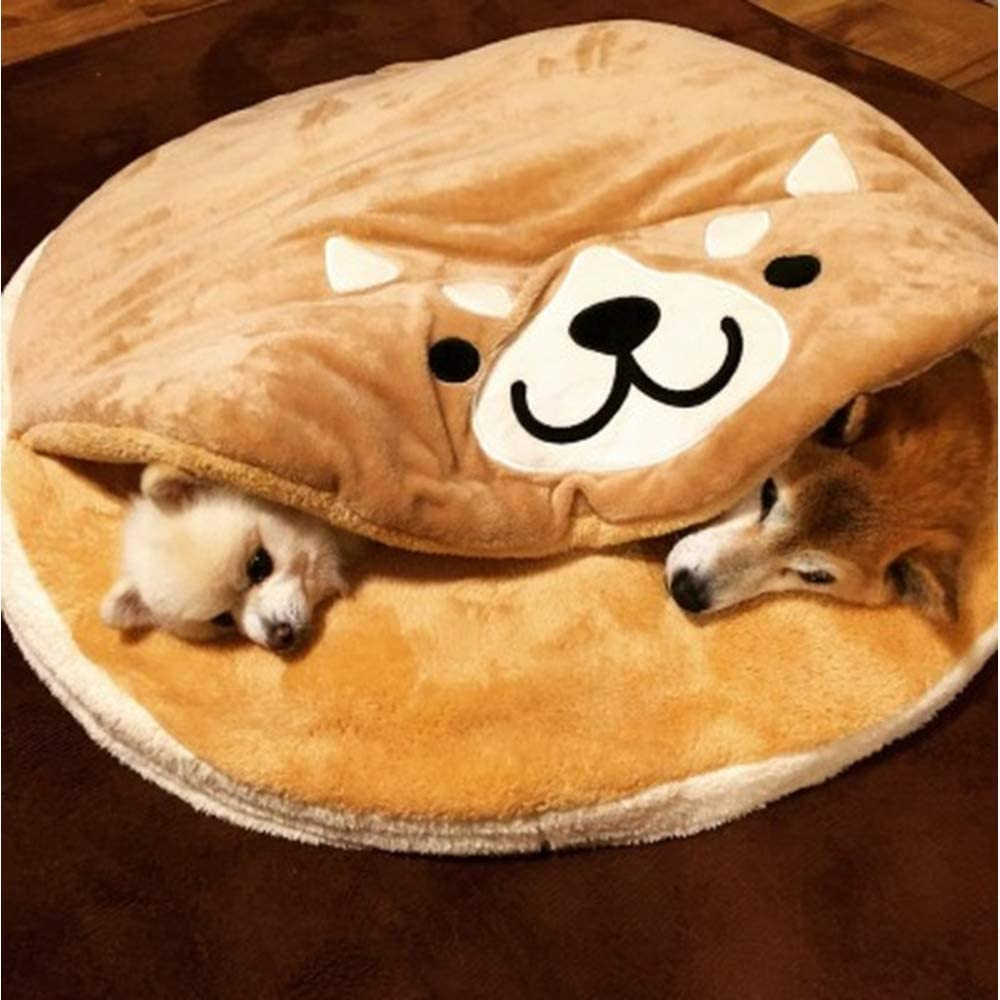 Unknow Gong Burning Shiba Inu Pet Nest Pad Dibujos Animados Corto Felpa Redonda Gato y Perro Mat Camas para Perros Camas para Perros Grandes Manta para Perros