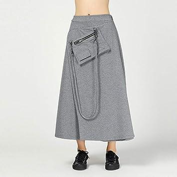DAHDXD Negro para Mujer Faldas de Cintura Alta Bolsillos Patchwork ...