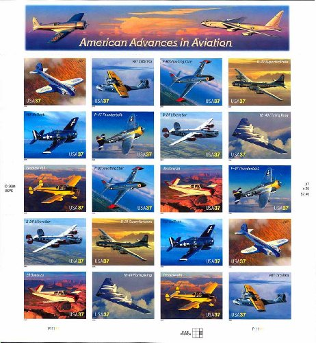 American Advances in Aviation Collectible Sheet of Twenty 37 Cent Stamps Scott 3916-25 By USPS