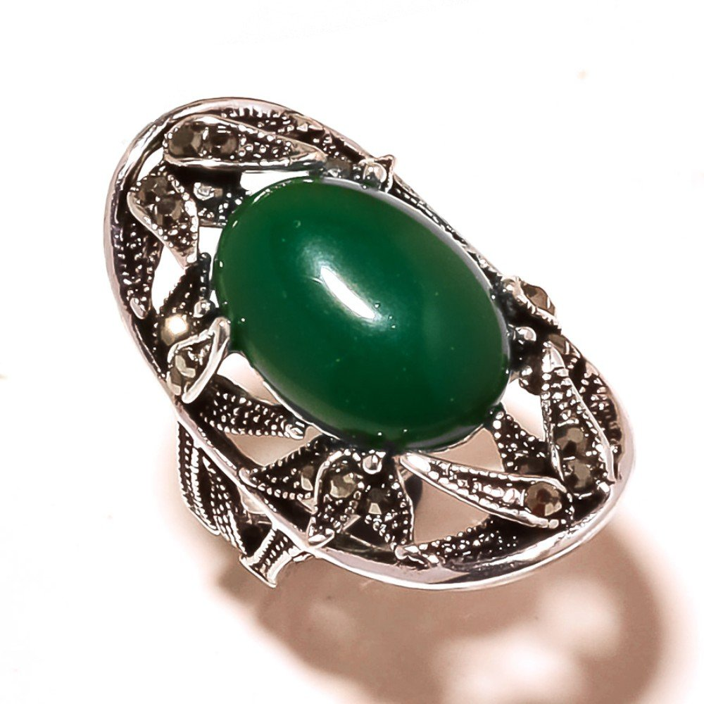Marks Design Fancy Green Onyx Sterling Silver Overlay 10 Grams Oxidized Ring Size 6.5 US