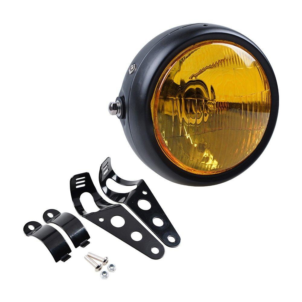 6.5' Motorcycle Retro Clear Lens Headlight + Mounting Bracket Kit For Harley Honda Kawasaki Suzuki Yamaha