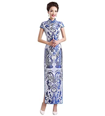 2af32a48f5e4 Drasawee Women's Long China Blue and White Porcelain Style Qipao Cheongsam  Dress US2