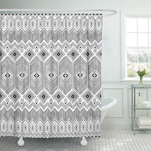 Ashleyallen Shower Curtains Cherokee Black and White Tribal Navajo with Doodle Aztec Fancy Abstract Geometric Ethnic Hipster Design Shower Curtain 60 x 72 Inches Shower Curtain with Plastic Hooks (Black Jacquard Shower Curtain)