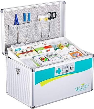 Caja De Primeros Auxilios con Cerradura De Seguridad, Organizador De Medicamentos Caja De Almacenamiento De Medicamentos De Emergencia para Almacenamiento, Kit De Primeros Auxilios - Aluminio: Amazon.es: Hogar