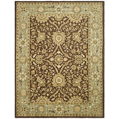 Safavieh Antiquities Collection AT249D Handmade Traditional Oriental Chocolate and Blue Wool Area Rug (6' x 9')