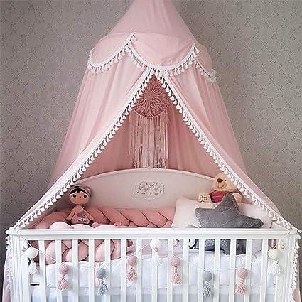 Ciel de lit en forme de d/ôme rond moustiquaire en coton tente de jeu d/écoration de chambre pour b/éb/é d/écorations de chambre denfant