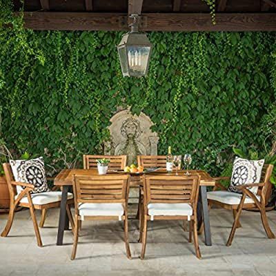 Christopher Knight Home 298198 DeSoto 7 Piece Patio Dining Set, Teak Finish with Rustic Metal + Teak Finish - Includes: One (1) Table and Six (6) Chairs Table Material: Acacia Wood. Chair Material: Acacia Non FSC Wood. Set Finish: Teak Finish. Table Leg Finish: Rustic Metal. Assembly Requited. - patio-furniture, dining-sets-patio-funiture, patio - 61R3qg6N6IL. SS400  -