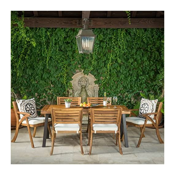 Christopher Knight Home 298198 DeSoto 7 Piece Patio Dining Set, Teak Finish with Rustic Metal + Teak Finish - Includes: One (1) Table and Six (6) Chairs Table Material: Acacia Wood. Chair Material: Acacia Non FSC Wood. Set Finish: Teak Finish. Table Leg Finish: Rustic Metal. Assembly Requited. - patio-furniture, dining-sets-patio-funiture, patio - 61R3qg6N6IL. SS570  -