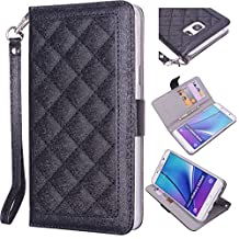 Samsung Galaxy Note 5 Wallet Wristlet Case, True Color® Slim & Stylish Magnetic Folio Quilted Wristlet Cover Purse Clutch with removable Wrist Strap + Media Stand - Black…