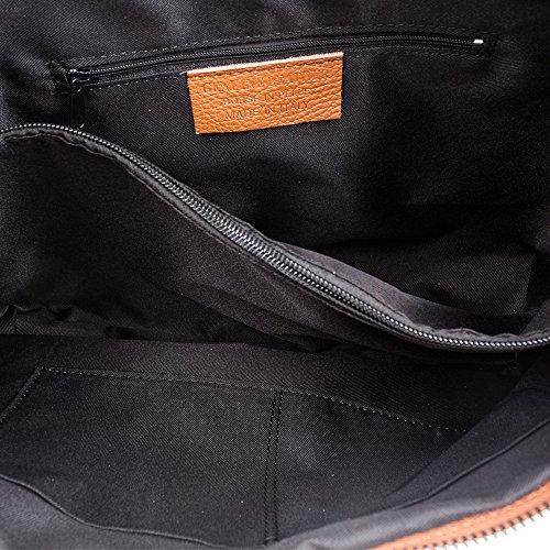 ITALY genuino VERA Bolso mujer de suave Bolso NEGRO Leather 38x26x14 Color cm cuero ARTEGIANI piel auténtica tacto IN MADE ITALIANA DOLLARO FIRENZE piel PELLE 8qZpY